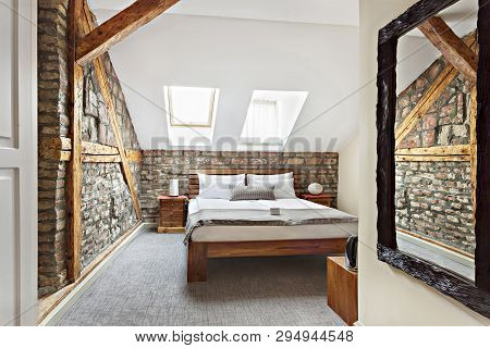 poster of Bedroom Interior In Luxury Loft, Attic, Apartment With Roof Windows - Hotel Room - Vacation Concept