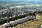 aerial view of Berat village and Osum river from Citadel, Albania