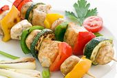 stock photo of braai  - Shashlik with Chicken and Vegetables - JPG