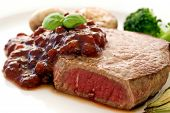 Steak with Cowberries and Vegetables