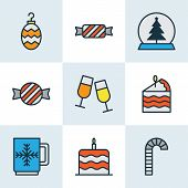 Christmas Icons Colored Line Set With Mug, Cake Piece, Candy Confection Elements. Isolated Vector Il poster