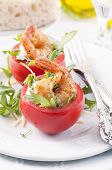 Tomatos filled with fresh cheese and Prawns