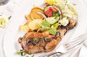 Chicken leg grilled with vegetable