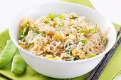 fried rice with eggs and spring onion