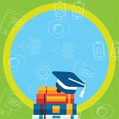 Illustration Of Blue Graduation Cap With White Tassel Resting On Top Of Pile Of Thick Colorful Books poster