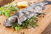 Rainbow trout stuffed with the fresh herbs