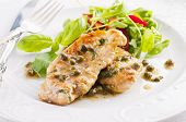 image of rocket salad  - chicken piccata with capern and salad - JPG