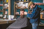 Barber With Clipper Trimming Hair On Temple Of Bearded Client. Barber With Hair Clipper Work On Hair poster