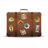 Suitcase Stickers. Old Retro Luggage With Travel Badges Vintage Antique Package Vector Picture. Suit poster