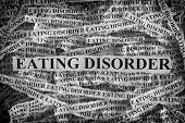 Eating Disorder. Torn Pieces Of Paper With The Words Eating Disorder. Concept Image. Black And White poster