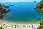 Beautiful Beach In Italy, The Mediterranean Coast. A Small Cozy Bay Of Italy, Ligurian Coast Of Ital poster