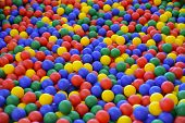 Ball Color For Child. Many Colorful Plastic Balls. Child Room. Colored Plastic Toy Balls Of Differen poster