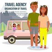 Travel Agency. Organization Of Travel Square Banner With Copy Space. Parents And Children Traveling  poster