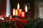 Christmas Candles In Wreath