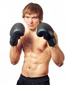 foto of pugilistic  - Young caucasian man boxer with black boxing gloves on white background - JPG