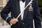 stock photo of united states marine corps  - Closeup of United States Airforce soldier holding sword in uniform - JPG