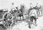 Soldiers returning from the shooting range. Engraving by Shlipper from picture by painter Sokolovsky