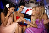 stock photo of limousine  - Hen party in limousine - JPG