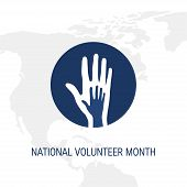 National Volunteer Month Concept. Minimalistic Square Design For Posters, Web Banners, Infographics  poster
