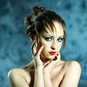 Fashion Portrait Of Young Beautiful Woman With Brunette Fashion Styled Hair