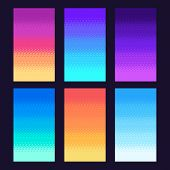 Dithering Pixels Background. Old Retro Video Game Pixel Art Gradient, Retro Arcade Games 8 Bit Sky V poster