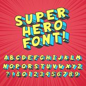 Super Hero Comics Font. Comic Graphic Typography, Funny Supers Heros Alphabet And Creative Fonts Let poster