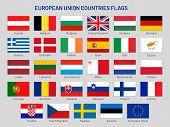 European Union Countries Flags. Europe Travel States, Eu Member Country Flag Vector Set poster