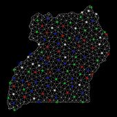 Bright Mesh Uganda Map With Glare Effect. Wire Carcass Polygonal Mesh In Vector Format On A Black Ba poster
