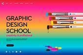 Web Page Design Template For Design School, Studio, Course, Class, Education. Modern Design Vector I poster