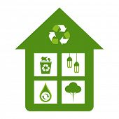 Green home eco friendly design concepts - recycle bin, energy saver lights, water conservation, reforestation.