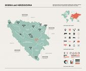 Vector Map Of Bosnia And Herzegovina.  High Detailed Country Map With Division, Cities And Capital S poster