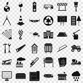 Construction Site Icons Set. Simple Style Of 36 Construction Site Vector Icons For Web For Any Desig poster