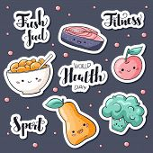 World Health Day Stickers Pack. World Health Day Lettering. Fresh Food, Fitness, Sport Hand Drawn Si poster