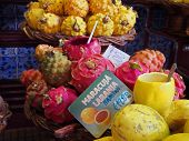 Close Up Of Tropical Dragon And Passion Fruit For Sale In The Market Funchal Madeira The Front Sign poster