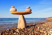 Symbolic Scale Of The Stones On Sea Background. Concept Of Harmony And Balance. Work-life, Emotional poster