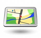 GPS Navigator 2 (silver, horizontal view). Editable vector Illustration.