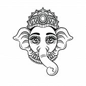 Vector Black White Illustration Of An Indian God With An Elephant Head. Indian Deity Ganesh. Sketch  poster
