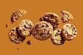 Broken chocolate chip cookies. Cookies broken in pieces with crumbs.  poster