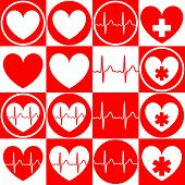 Set Of Medical Emblems With The Image Of The Heart, Cardiogram, Medical Cross, Star Of Life. Vector  poster