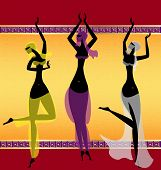 stock photo of seminude  - on abstract background are three oriental girls dancing - JPG