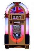 stock photo of jukebox  - Vintage jukebox with UK flag isolated in white - JPG