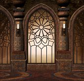 Fantasy Gothic Gate In A Medieval Mansion - 3d Illustration poster