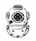 Vector Drawing Of Diving Helmet In Black Color, Isolated On White Background. Graphic Illustration,  poster