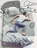 Missed Football And Childhood. Top View Photo Of Young Man Sleeping In A Big White Bed At Home. Drea poster