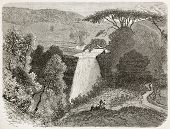 Reb waterfalls old view, Abyssinia. Created by Ciceri after Lejean, published on Le Tour du Monde, P
