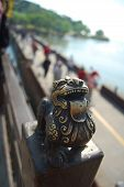 Chinese Brass Lion With Tongue Out