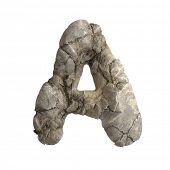 Rock letter A - Capital 3d boulder font isolated on white background. This alphabet is perfect for c poster