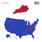 The State Of Kentucky Is Highlighted In Red. Blue Vector Map Of The United States Divided Into Separ poster