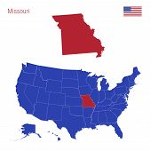 The State Of Missouri Is Highlighted In Red. Blue Vector Map Of The United States Divided Into Separ poster