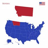 The State Of Montana Is Highlighted In Red. Blue Vector Map Of The United States Divided Into Separa poster